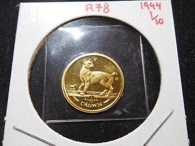 R78 Isle of Man 1994 GOLD 1/10 Oz Japanese Bobtail Cat Crown Proof In Orig. Seal