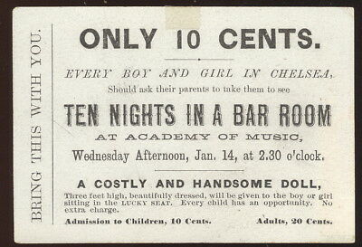 1880S Academy Of Music, Chelsea Advertising Card, Ten Nights In A Bar Room