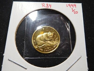 R84 Isle of Man 1999 GOLD 1/10 Oz British Blue Cat Crown Proof In Original Seal