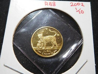 R88 Isle of Man 2002 GOLD 1/10 Oz Bengal Cat/Kitten Crown Proof In Original Seal