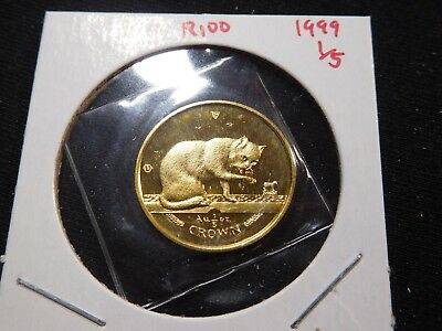 R100 Isle of Man 1999 GOLD 1/5 Oz British Blue Cat Crown Proof In Original Seal
