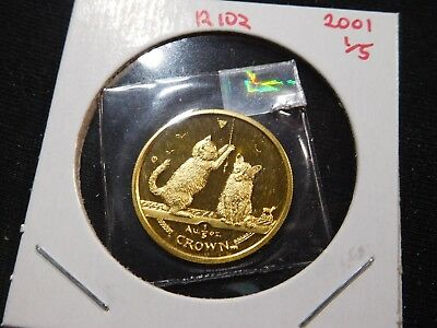 R102 Isle of Man 2001 GOLD 1/5 Oz Somali Kitten Cat Crown Proof In Original Seal