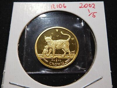 R106 Isle of Man 2002 GOLD 1/5 Oz Bengal Cat/Kitten Crown Proof In Original Seal