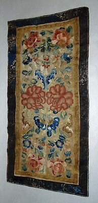ANTIQUE CHINESE Embroidery FORBIDDEN STITCH Sleeve Panels FLOWERS