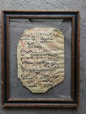 Antique 18th C Music Page on Vellum 2 Sided Framed Losses from Silverfish