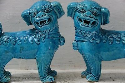 Pair Of Very Decorative Chinese Mythical Beasts - Kylins - Foo Dogs - Rare