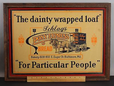 Antique Early 20thC Schlag's Pony Express Bread Wagon Cardboard Advertising Sign