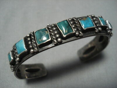 Early 1900's Vintage Navajo Squared Turquoise Sterling Silver Bracelet