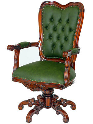 MAHAGONI CHESTERFIELD DREHSESSEL racing-green - MAHOGANY DIRECTOR´s SWIVEL CHAIR