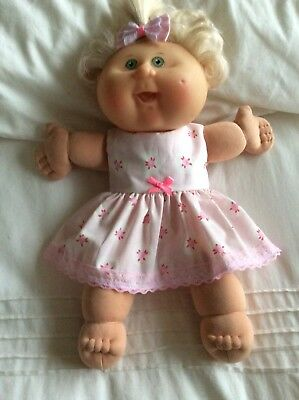 """DOLLS CLOTHES made to fit 14"""" CABBAGE PATCH DOLL - Dress & Bow - Pink Pink Roses"""