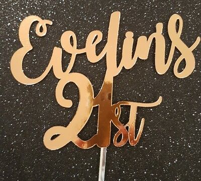 Personalised Cake Topper Heavy Cardboard 21st 21 Birthday Name 18 18th Any Ages