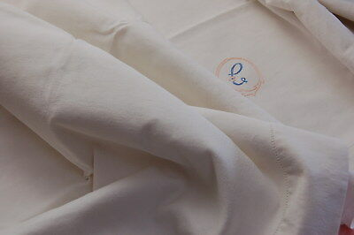 "Vintage French Linen Blend Sheet MC Monogram for PROJECTS Imperfect 80"" x 112"""