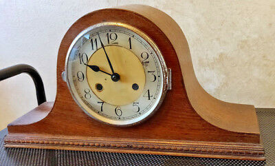 Smiths Enfield Oak Art Deco Gong Striking Mantle Clock Chiming British Made