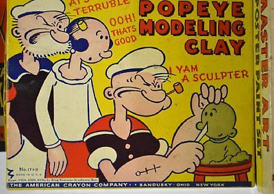 Vintage 1936 POPEYE Modeling Clay Set #1740 American Crayon Company-Excellent