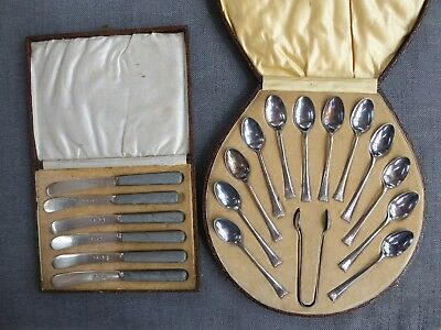 2 cased sets of antique EPNS butter knives & tea spoons ##HIN70BS