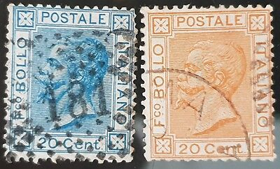 Italy 1867 to 1877 Sc # 35 an Sc # 36 20c Blue and Orange Used HR 10c Stamps #2