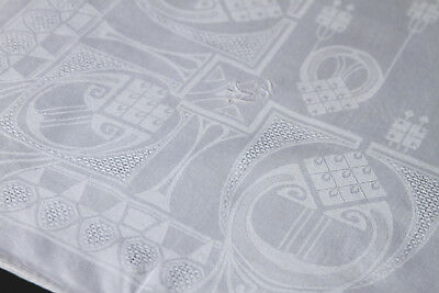 Leinen Damast Tafeltuch - Jugendstil -Tischdecke -156/126 cm,Antique tablecloth