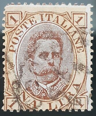 Italy 1889 Sg # 42 Used HR 1 Lira Stamp CV £ 21.00