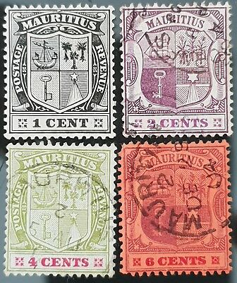 Mauritius 1904 to 1907 Sc # 128 # 129 # 131 # 132 Used HR Stamps WMK MCCA