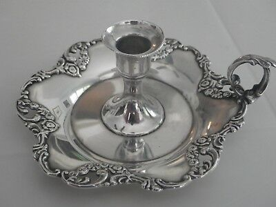 Antique Sterling Round Candlestick Holder with Repousse Flowers-43.7 Grams