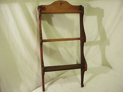 "Vintage Wood Wall Shelf Display Curio 3 Shelves Tiers 20"" x 10"" Wooden Hanging"