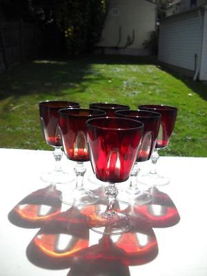 Six Cristal d'Arques Durand Ruby Red Gothic Arch Water Glasses, EC