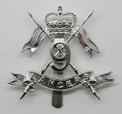 9th Queen's Royal Lancers Anodised (Staybrite) Cap Badge #32