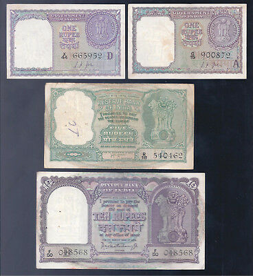 India, 1950's - 1960's, 1 - 10 Rupees, 4 Notes, Fine-EF!!