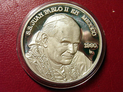 MEDAILLE 1990 Silber Papst Johannes Paul II. - Pope John Paul II. in Mexiko