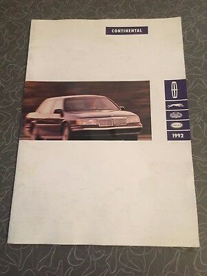1992 Lincoln Continental Car Auto Dealership Advertising Brochure