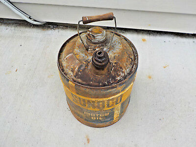 VINTAGE 5 GALLON Sunoco Mercury Made Oil Can W/ Wood Handle By Sun Oil Co.