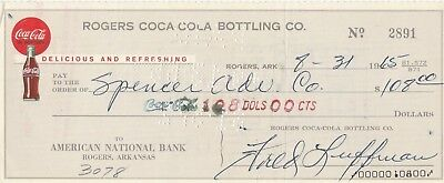 Coca Cola Check , Rogers Coco-Cola Bottling Co  Arkansas