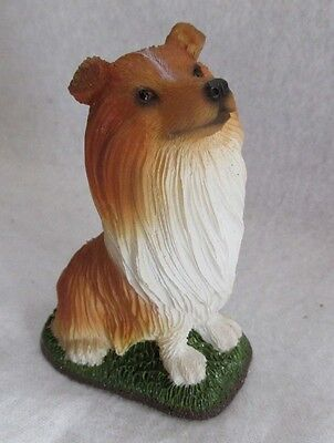 Resin Tan White Collie Puppy Dog Unmarked