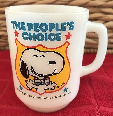 Anchor Hocking 1980 Snoopy, The People's Choice, Coffee Mug Cup  #4 in Series