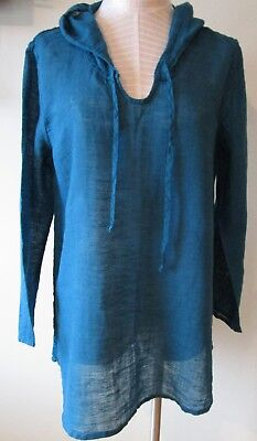 FLAX  Designs  LINEN Hoodie Tunic Shirt   S   /&  L  NWOT  Black Voile