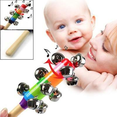10-Bell Jingle Wooden Rainbow Shaker Stick Musical Instrument Toys For Baby Kids