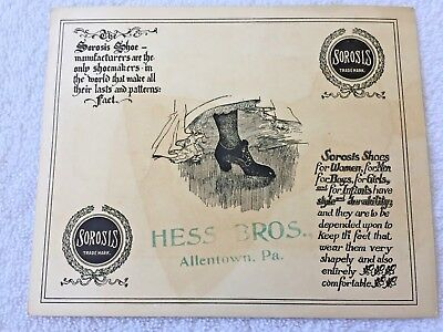 HESS BROS. ALLENTOWN, PA  ADVERTISING CARD 1905 for SOROSIS SHOES
