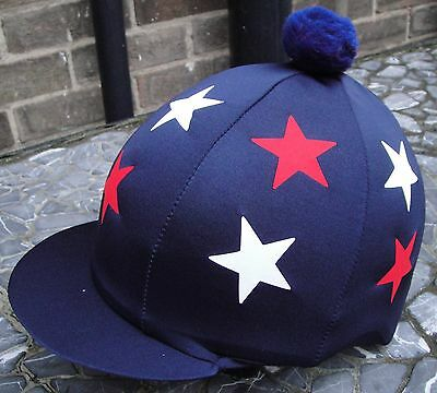 Riding Hat Silk Skull cap Cover NAVY BLUE WHITE RED * STARS With OR w/o Pompom