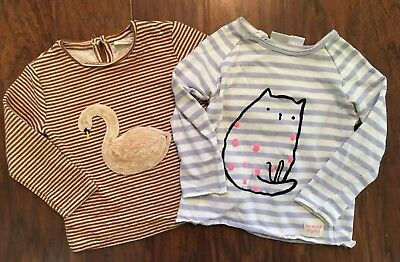 Zara Baby Girl 2/3 Long Sleeved Tops Shirts 98 cm Stripes Kitty Cat Swan LOT