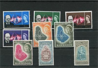 Barbados 9 -- Early Qe2 Unmounted Mint Stamps On Stockcard