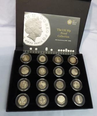 1969 TO 2009 UK 50 pence PROOF COLLECTION INCLUDING THE KEW GARDENS COIN