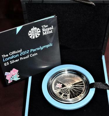 2012 SILVER PROOF £5 official Paralympic coin (Royal Mint box & cert)