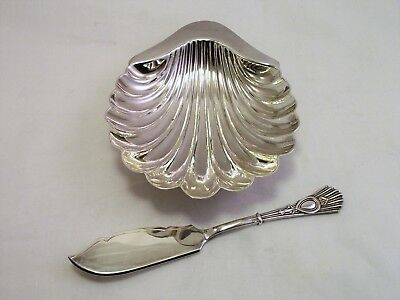 Silver Plated Epns Butter Dish Shell And Spreader Atkin Bros 1900 Mint