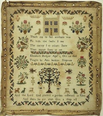 Early 19Th Century Adam & Eve, House & Motif Sampler By Elizabeth Badger - 1808