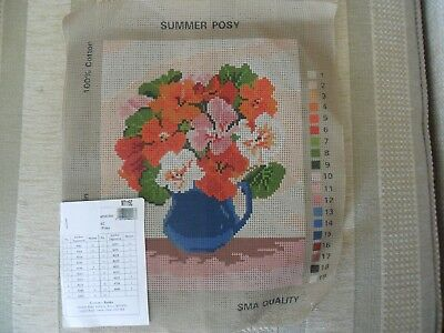 Printed Tapestry CanvasS.M.A.16 x16 ins. Jugof Flowers. NEW No Threads