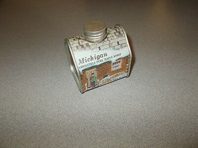 Vintage 1984 mini 1/2 pint cabin shaped Michigan pure maple syrup tin used empty