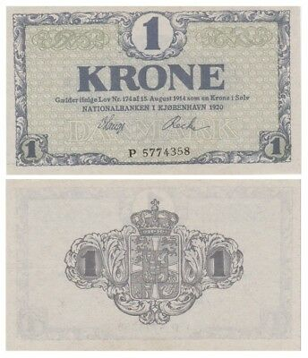 One Krone Danish banknote issued in 1920 P aunc