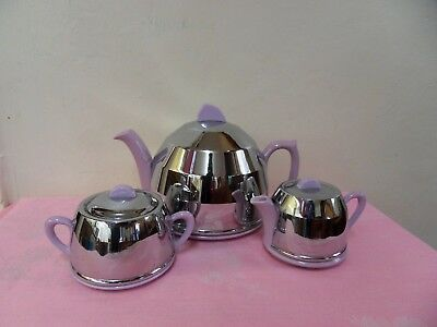 Vintage  1933 Heatmaster Insulated Teapot / Sugar Bowl And Milk Jug