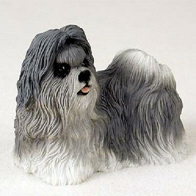 SHIH TZU Dog HAND PAINTED FIGURINE Resin Statue Collectible GRAY Puppy Shihtzu