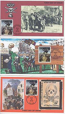 Jvc Cachets - 2016 Repeal Of The Stamp Act Issue Fdc First Day Covers - Set Of 3